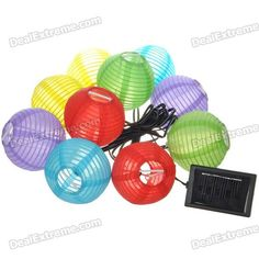Solar Powered Self-Recharged 10-LED White Light Lampions (1*AA)