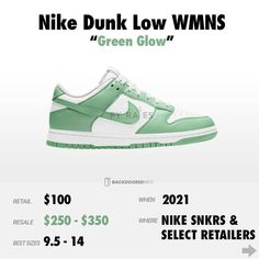 "Gefällt 7,712 Mal, 45 Kommentare - Backdoored Resell Info (@backdooredinfo) auf Instagram: ""Nike Dunk Low WMNS ""Green Glow"" - 《 Release Date: 2021 《 Retail: $100 《 Resell: $250 - $350 《…"""