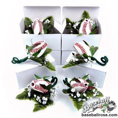 Baseball Rose Boutonnieres for baseball themed weddings, proms, and homecomings.  $23.95 each