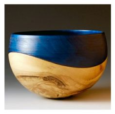 'Wave Bowl (Liquidambar, blue colouring) by John Beaver.