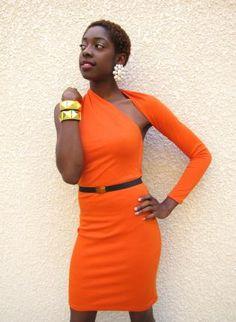 Orange New Years Eve Party Dress,  Dress, orange One shoulder party dress, Chic