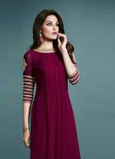 Product Code 41884 - Magenta Embroidered Designer Kurti