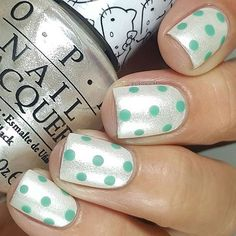 Perfect polkadots by @lalalovenailart. 💚 #nailitdaily #manimonday #dotticure #hellokitty #nails #nailart #notd