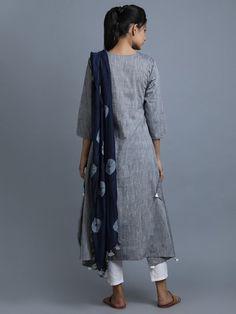 Grey Navy Cotton Kurta with Attached Tie and Dye Dupatta Frill Dress, Dress Skirt, Casual Indian Fashion, Fashion Illustration Dresses, Kurti Patterns, Kurti Neck Designs, Indian Dresses, Indian Suits, Indian Wear