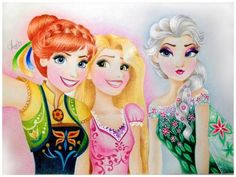 Anna, Elsa and Rapunzel - elsa e ana fã Art