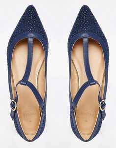 Image 3 of Oasis T Bar Point Sparkle Flat Shoe