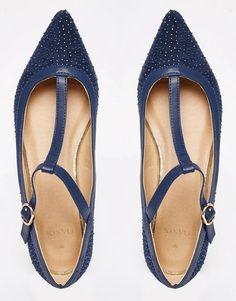 Image 3 ofOasis T Bar Point Sparkle Flat Shoe