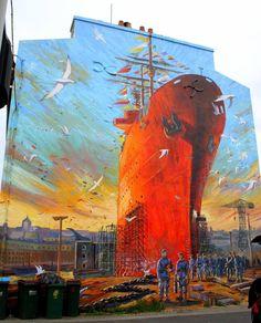 Tall ship a sailing.