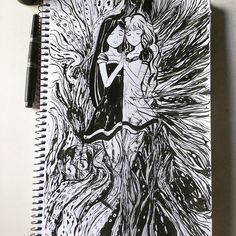 I'll love you even If the world turn in my worst nightmare #sketchbook #sketch #chaos #girls #ink