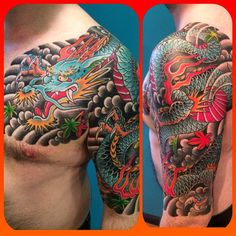 here's a tribal armband under there somewhere. Dragon Tattoos For Men, Japanese Dragon Tattoos, Japanese Sleeve Tattoos, Dragon Tattoo Designs, Arm Cover Up Tattoos, Left Arm Tattoos, Koi Tattoo Sleeve, Dragon Sleeve Tattoos, Cover Up Tattoos Before And After