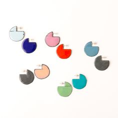 'Enfold' earrings - round Various colours (double sided so that the same colour faces outwards) vitreous enamel, copper & sterling Silver Vitreous Enamel, Round Earrings, Im Not Perfect, Copper, Faces, Victoria, Colours, Jewellery, Sterling Silver