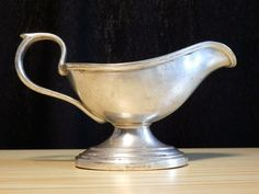 Antique old factory German WELLNER SOEHNE (8) silvered butter gravy-boat N.R.A.B #Wellner
