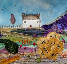 'The brightest and merriest melodies sang from the meadow'  by Louise O'Hara of Drawntostitch www.drawntostitch.com