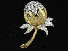 Vintage Designer Signed PANETTA Rhinestone Figural Flower Brooch