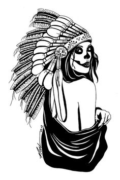 Indian Skull With Headdress Drawing