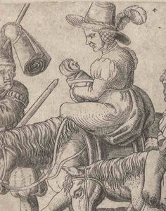 1559 Brun, Franz, active ca. 1559-1596 (engraver) Zug der Soldaten und Marketenderinnen. One of a collection of illustrations of Austrian soldiers. Soldiers and their wives, some walking, some on horseback, moving to the left. DETAIL - showing swaddled baby.  Copyright - Anne S.K. Brown Military Collection at Brown University.