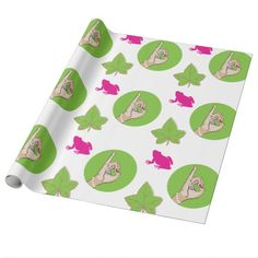 Real Pretty Pink and Green Wrapping Paper