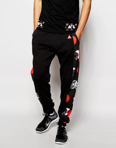 Image 1 of Asphalt Yacht Club Joggers With Rose Print Side Panels