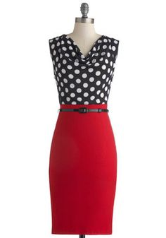 Profesh Opinion Dress: When a friend is in need of fresh fashion advice they always turn to you. Clad in this polka-dot dress of black white and red you kindly offer your eloquent… Work Fashion, Fashion Advice, Jw Mode, Retro Vintage Dresses, Vintage Clothing, Mod Dress, Dress Red, Shirt Dress, Work Attire