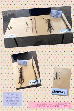 Ordering sticks from shortest to longest. EYFS
