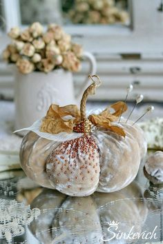 Note the pretty ribbon, finally a use for the beautiful vintage ribbon found in Placerville Velvet Pumpkins, Fabric Pumpkins, Fall Pumpkins, Diy Pumpkin, Pumpkin Crafts, Autumn Decorating, Pumpkin Decorating, Thanksgiving Decorations, Halloween Decorations