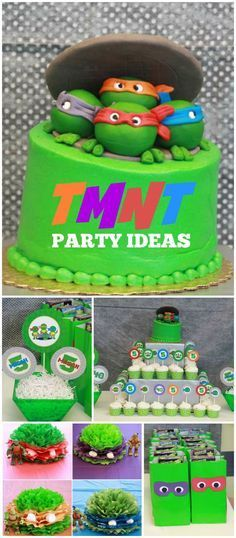 An awesome Teenage Mutant Ninja Turtle boy birthday party for three boys! See more party planning ideas at CatchMyParty.com!