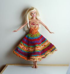 Ravelry: Barbie Gown pattern by Abigail Forrest - cute idea but I'd have to convert to thread