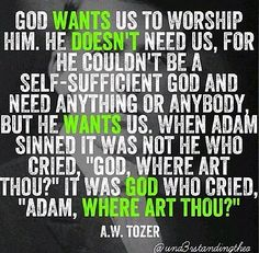 A W Tozer: God wants us to worship Him. he doesn't need us,