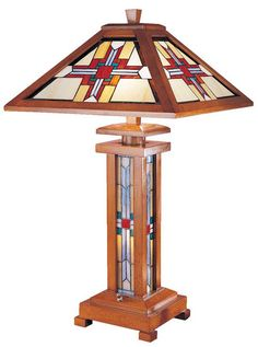 Stained Glass Native American Wood Table Lamp
