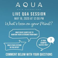 Get ready! We want to know what's been on your mind! This upcoming Monday we will be hosting our first live Q&A Session of 2020. Ask anything or everything that's been on your mind during this quarantine and we will answer them live! Start preparing, and comment below with your questions.  #aquahair #aquaeducation #aqualiveqanda #qanda #live #aquamaintenance #goinglive #teamaqua #aqua2020 #teamaqua2020 #hairextensions #extensions #onyourmind #aquawetline #ighair #hairofinsta #hairofinstagram… Aqua Hair, Latest Updates, Hair Extensions, Shampoo, Mindfulness, Education, Live, Weave Hair Extensions, Extensions Hair