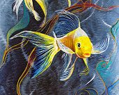 Koi Fish on Metal 3D Painting, Yellow Butterfly Koi, Oil Painting on Stainless Steal