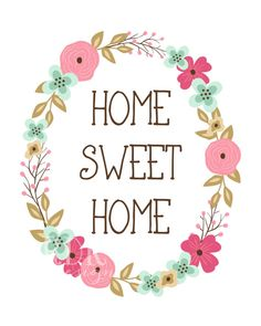 Home Sweet Home Print Floral Wreath Home Decor by westemberstudio