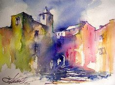 vieux village / Old village in France | Aquarelle retenue da… | Flickr