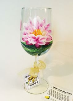 Custom one-of-a-kind hand painted white to pink lotus water lily wine glass - This design has one open flower, one partially open flower