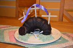 Empty Tomb Cake - can use green coconut for grass, could use pretzel sticks for crosses...