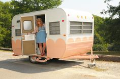 Adorable little trailer - see how she creatively decorated the inside of this trailer all full of shop stuff!