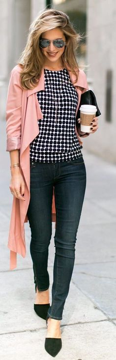 "I like the color ""coat"" with print. Not necessarily pink and not that type of coat either. business casual for women jeans best outfits"