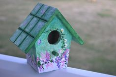 Floral hand painted birdhouse via Etsy