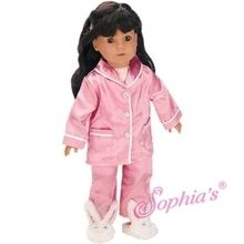 """Classic pink silk pajamas and bunny slippers that fit 18"""" american girl dolls. Use special discount code PIN10"""