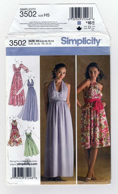 31214880f90d Simplicity 3502 Women's Special Occasion Dress or Evening Gown Sewing  Pattern, Empire Waist, Halter