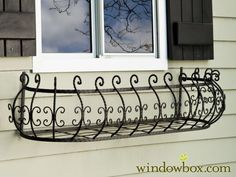 Parisian Window Box Get the look of antique iron window boxes, without the traditional dangers and rust, delivered to your door. The Parisian Iron Window Box Cage are a curved window box design is here by demand!