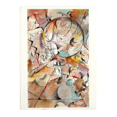 An unframed abstract ink and watercolor painting on paper by Venezuelan-born artist Ricardo Morin (b. Modern Masters, Three Dimensional, Geometric Shapes, Watercolor Paintings, Art Gallery, Museum, African, Ink, Abstract