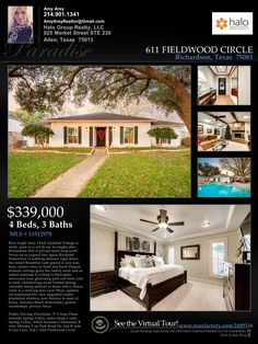 Richardson, TX Home for Sale: Single-Story, 4-bedroom, 3-bath, Study with Pool. Updated Vintage on amazing, mature-treed lot! http://aarey.haloagent.com/property/37-13512978-611-Fieldwood-Circle-Richardson-TX-75081