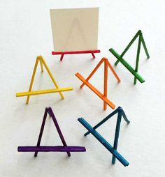 Mini Stick Easels. Glue with quick drying craft glue and have a mini art show. #easels #miniature