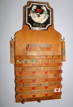 "Vintage Handmade Wood Calendar/Clock 24"" X 11 1/4"" by RadiogirlCarolyn on Etsy"
