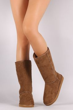 Keep your feet warm and cozy this season with these comfy mid calf boots ! It features round toe front, stitching details, and low flat heel. Finished with cushioned insole and faux shearling interior Mid Calf Boots, Thigh High Boots, Flat Boots, Designer Boots, Thigh Highs, Warm And Cozy, Heeled Mules, Cool Style, Comfy