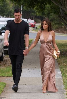 Elegant: The Geordie Shore star, 29, turned heads in a champagne coloured frock as she enj...