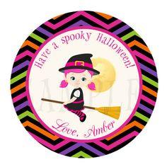 Girl Halloween label - halloween tag - halloween sticker - halloween cupcake topper - halloween party - witch halloween