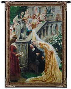 "Lord Leighton's ""A Kiss"" Medieval Tapestry Wall Hanging"