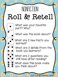 Tested–Now What? Reading Comprehension Roll and retell nonfiction, reading comprehension Guided Reading Questions, Reading Response Activities, Reading Intervention, Teaching Reading, Reading Centers, Reading Groups, Retelling Activities, Literacy Games, Literacy Stations